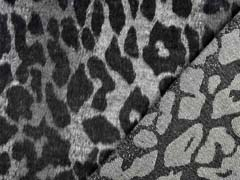 Jackenstoff mit Wollanteil Leopardenmuster angeraut, grau