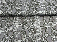 RESTSTÜCK 92 cm Viskosestoff Schlangenmuster, grau