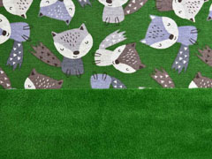 Alpenfleece Sweatstoff Füchse, Grasgrün