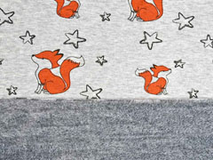 Alpenfleece Sweatstoff Füchse Sterne, hellgrau meliert