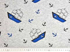 Alpenfleece Sweatstoff Segelboote Anker, hellgrau meliert