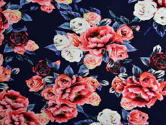 Jersey große Rosen Digitaldruck, dunkelblau