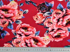 Jersey große Rosen Digitaldruck, rot