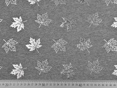 Jersey Ahornblätter silber metallic, hellgrau meliert