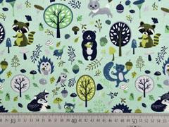 Jersey Waldtiere Laub Pilze, grün mint