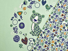 Jersey Leopard in Blumenkranz 3 in 1 Panel, hellgrün