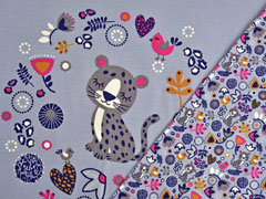 Jersey Leopard in Blumenkranz 3 in 1 Panel, grau