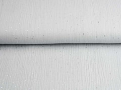 Musselin Double Gauze silberne Punkte, hellgrau