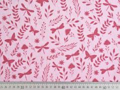 Sweat Frottee Schmetterlinge Blumen elastisch, rosa