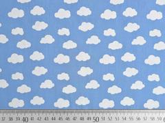RESTSTÜCK 85 cm Baumwollstoff Wolken, weiß hellblau