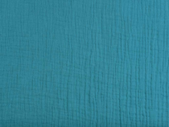 RESTSTÜCK 35 cm Musselin Stoff Double Gauze uni, petrol