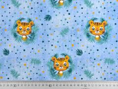 Jersey Jeanslook Digitaldruck Tiger in Palmblättern, hellblau