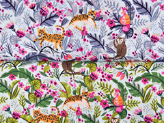 Baumwollstoff Tiger Affen tropische Blätter, orange pink grün hellmint