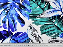 Jersey große tropische Blätter, blau auf weiß