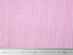 Baumwollstoff Seersucker schmale Streifen, rosa weiß