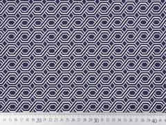 Hosenstretch Stoff Bengalin grafisches Zopfmuster, beige weiß dunkelblau