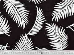 Viskose Crepe tropische Blätter, weiß schwarz