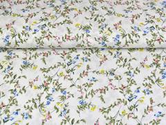 Viskose Crepe Blusenstoff  Blumenzweige, blau khaki weiß