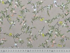 Viskose Crepe Blusenstoff  Blumenzweige, weiß khaki beige