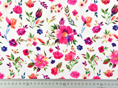 Blusenstoff Blumen, pink weiß