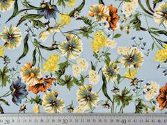 Blusenstoff Wildblumen elastisch, orange gelb graublau