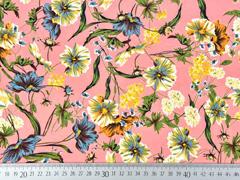 Blusenstoff Wildblumen elastisch, blau gelb lachsrosa