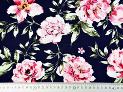 Viskose Stoff große Blumen Blätter, rosa dunkelblau