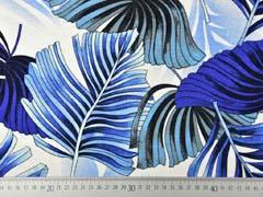Viskosejersey mit Leinen tropische Blätter, royalblau creme