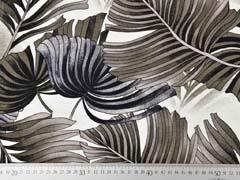 Viskosejersey mit Leinen tropische Blätter, khaki schwarz creme