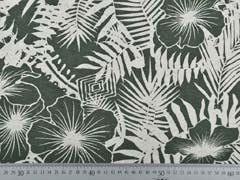 RESTSTÜCK 73 cm Viskosejersey mit Leinen Blumen tropische Blätter, natur khakigrün