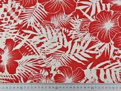 Viskosejersey mit Leinen Blumen tropische Blätter, natur terracotta