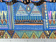 Viskose Crepe Ethno Muster Ibiza Style, orange blau pink