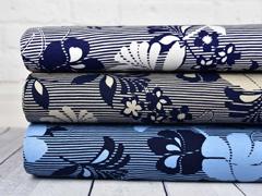 Viskosejersey Blumen Streifen, dunkelblau weiß