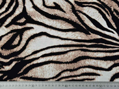 RESTSTÜCK 46 cm Viskosejerseystoff Zebra Animalprint, schwarz weiß braun