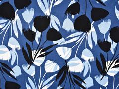 Viskose Leinen abstrakte Tulpen, schwarz jeansblau
