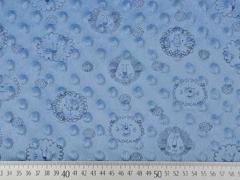 Fleece Minky Punkte Löwengesichter, helles jeansblau