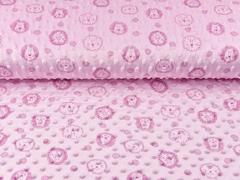 Fleece Minky Punkte Löwengesichter, helles rosa