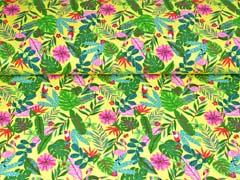 Jersey Flamingo Tukan tropische Blätter, gelb