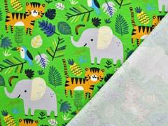 Sweat Stoff French Terry Elefanten Tiger Dschungel, hellgrün
