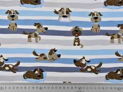 Jersey Hunde Streifen, hellblau weiß