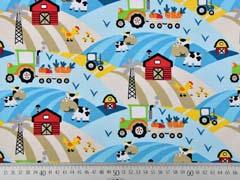 Jersey Traktor Kühe Bauernhof, beige hellblau