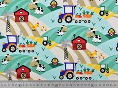 Jersey Traktor Kühe Bauernhof, beige mint
