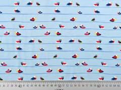 Jersey Vögel Streifen, hellblau