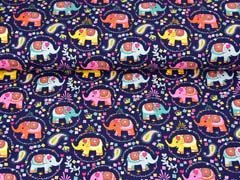 Jersey Elefanten Blümchen Paisleymuster, dunkelblau