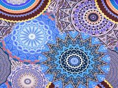 Jersey bunte Mandala Kreise Ethnomuster Digitaldruck, royalblau