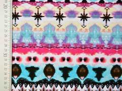 Jersey buntes Batik Retro Muster Digitaldruck, rosa mint schwarz