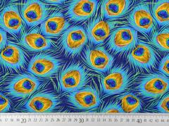 Viskosejersey Pfauenfedern Digitaldruck , türkis ocker dunkelblau