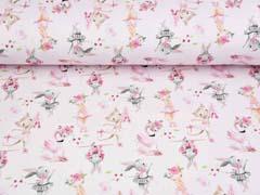 Sweat Stoff French Terry Hasen Katzen Flamingos Digitaldruck, rosa