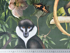 Dekosamt Velourstoff Dschungel Affen, dunkelgrün