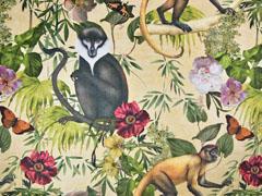 Dekosamt Velourstoff Dschungel Affen, hellbeige